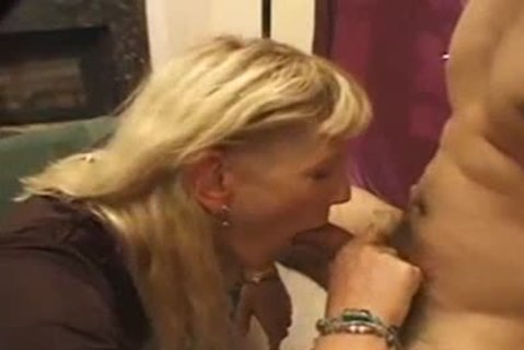 old Blond TS receives butthole After engulfing