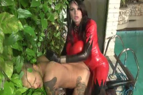 tgirl Camila Klein Is Dressed In Red Latex!