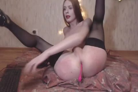 Skinny Russian Redhead shemale In dark stockings Plays With Her dick And arsehole